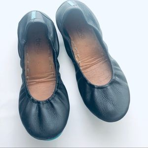 Black Leather Tieks Flats